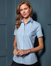 Ladies Microcheck (Gingham) Short Sleeve Shirt Cotton
