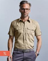 Men`s Roll Short Sleeve Twill Shirt